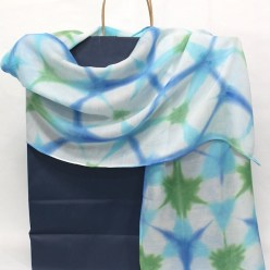 itajime shibori hand dyed wool and silk scarf handmade by doris lovadina-lee in turquoise blue and green