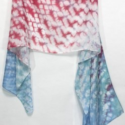 handmade dusty rose and light blue nui shibori silk scarf doris lee toronto canada
