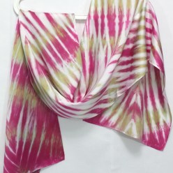 silk satin hand dyed fuchsia and olive green arashi shibori in toronto canada