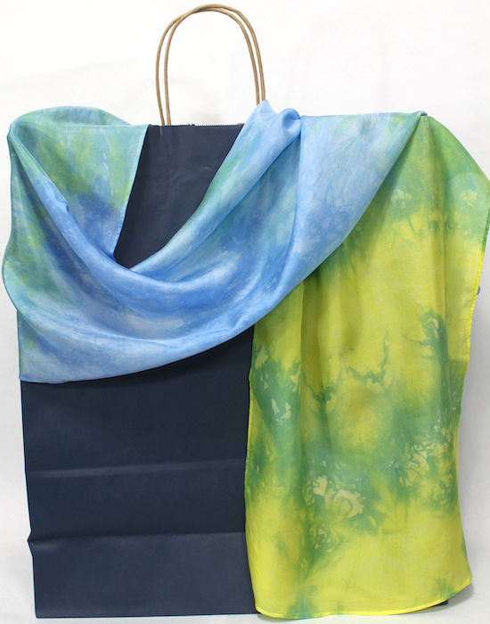 Silk Nui Shibori Scarf, Hand Dyed in Blue, Yellow and Green, Artisanal  Handmade Luxurious Gift for Women, Colourful and Elegant Accessories