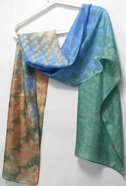 silk scarf nui shibori hand dyed in toronto canada by doris lovadinalee in peach blue and green