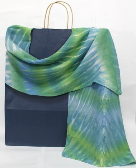 doris lovadina-lee designs arashi shibori silk and wool scarf hand dyed in blue and green