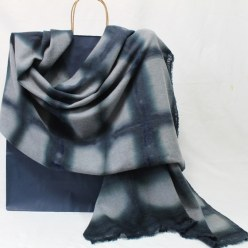 italian wool man's scarf hand dyed black windowpane check on gray gift toronto for men