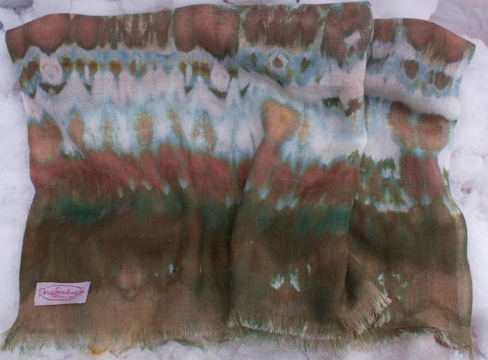 Nui shibori wool scarf hand dyed with snow by doris lovadina-lee toronto ontario canada clothing label
