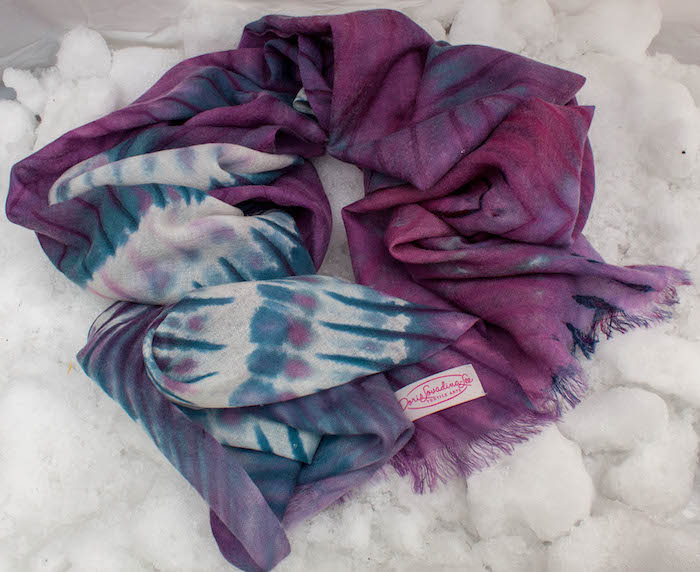 Wool arashi shibori shawl on snow by doris lovadina-lee toronto ontario textile artist
