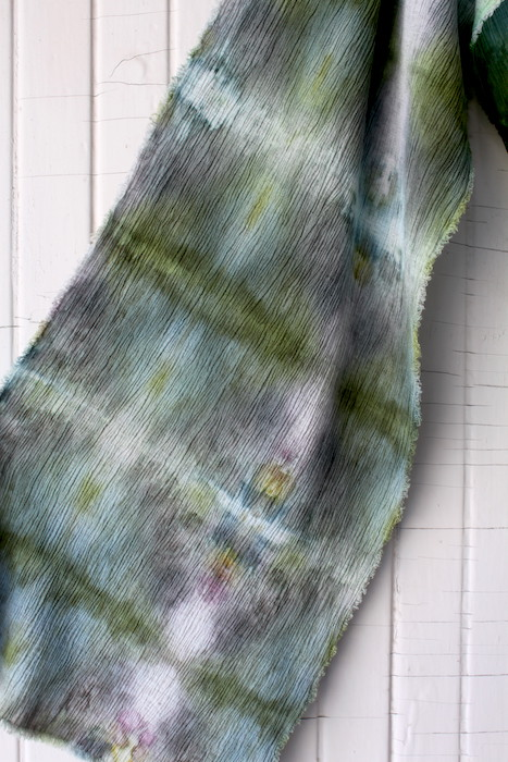 snow dyed crinkle linen rayon scarf hand dyed doris lovadina lee