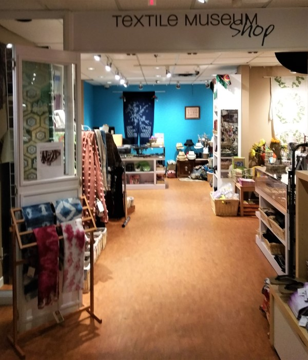 Entrance to Textile Museum of Canada Gift Shop with shibori scarves