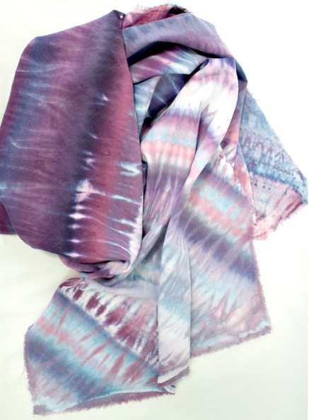 twisted nui shibori scarf in linen and rayon scarf blue purple doris lovadina-lee