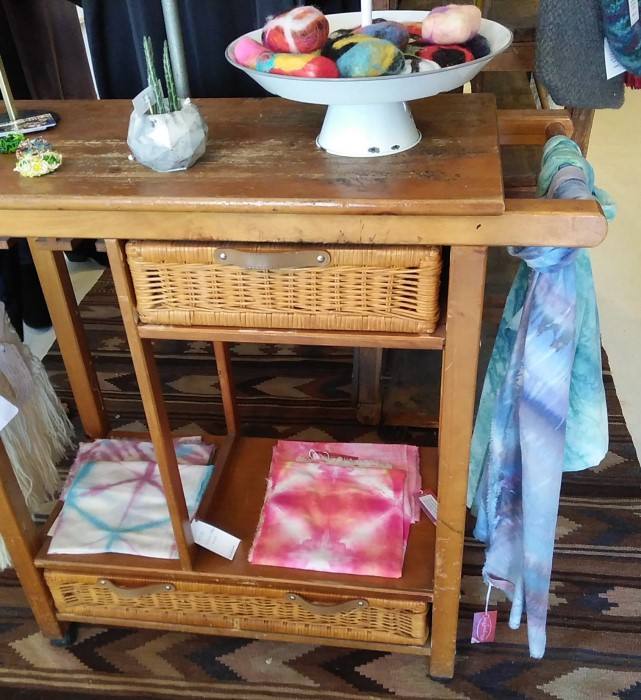 snow dyed shibori scarves in Field & Flower danforth avenue toronto made by doris lovadina-lee