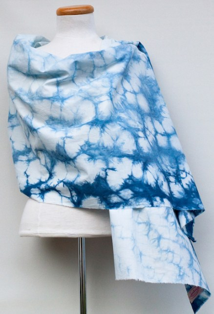 one of a kind shawl made in toronto blue and white
