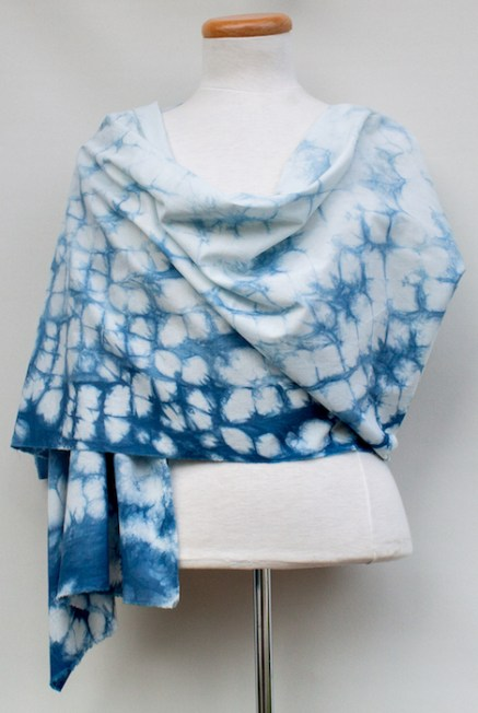 indigo dyed nui shibori cotton shawl generous size one of a kind doris lee