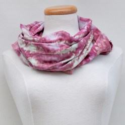 cowl wrapped hand dyed scarf deep pink watercolour effect doris lovadinalee