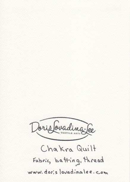 blank note card back with Doris Lovadina-Lee textile artist logo