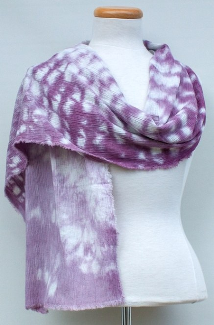 textured mauve travel scarf dyed by doris lovadina-Lee