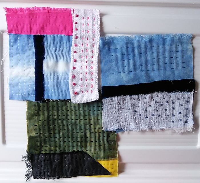 3 samples of stitch meditations by doris lovadina-lee