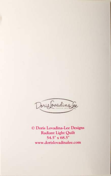 Back of Radiant Light Chakra Quilt blank greeting card by Doris Lovadina-Lee