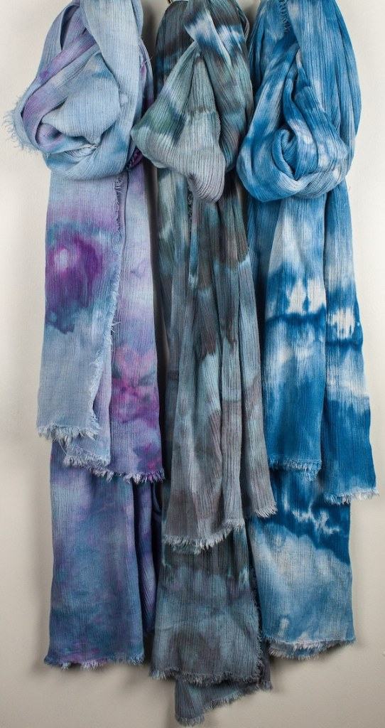 3 rayon and linen crinkle travel scarves by toronto artist doris lovadina-lee