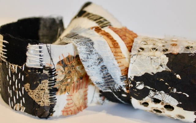 Ferrous Spool by Gwen Hedley paper and cloth picked and hand stitched
