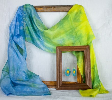 silk scarf in yellow, green and blue DLL1759 by dorislovadinalee.com toronto artist