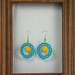 yellow, turquoise circle hand crocheted earrings by maria nunes toronto ontario canada