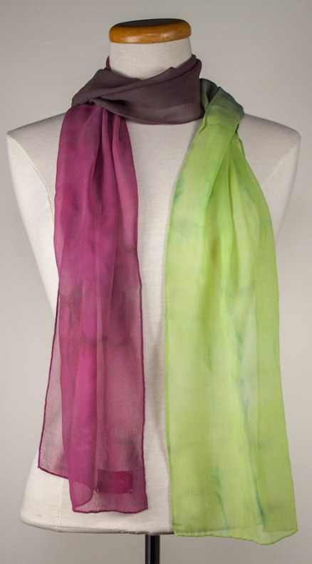 Rose, pale, green and gray silk chiffon hand dyed