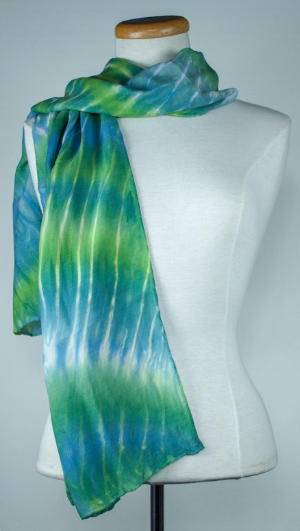 blue and green arashi shibori silk/wool scarf toronto artist
