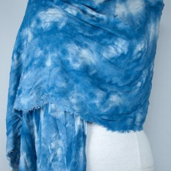 Storm Front front of snow dyed shibori blue scarf linen and rayon crinkle for travelling by doris lovadina-lee