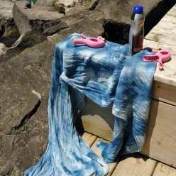 blue crinkle scarf on deck with pink flamingos made by dorislovadinalee canadian made gift