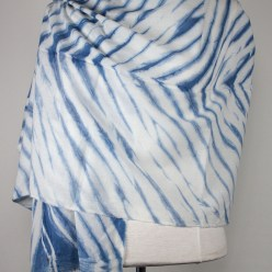 mannequin with draped cotton indigo shibori scarf