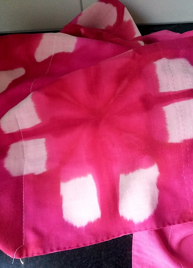 Kantha style shibori dyed scarf in fuchsia pink and white in progress by doris lovadina-lee toronto quilter