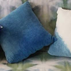 brown shibori style pillow on coach dorislovadinalee