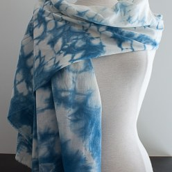cotton voile indigo dyed scarf
