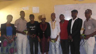 Teachers with solar lamp