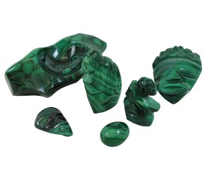 A collection of Malachite Objects