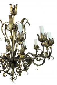 A GILT METAL CHANDELIER