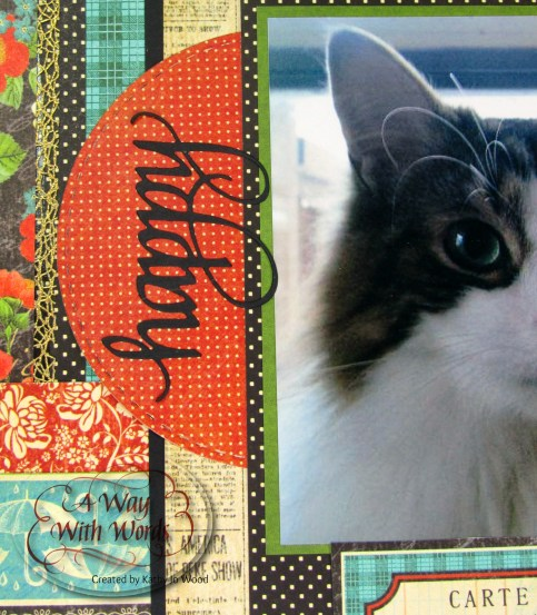 Elizabeth Craft Designs Graphic 45 Suzanne Cannon Way With Words Raining Cats and Dogs Scrapbook Layout Kathy Jo 3