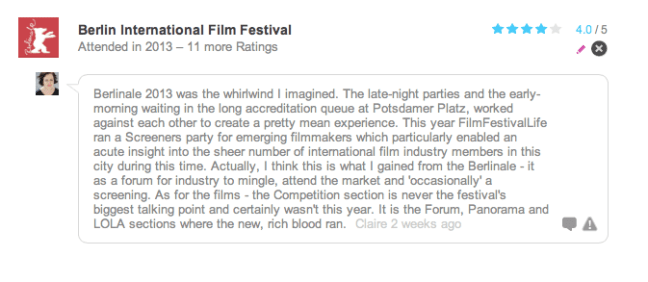 Berlin International Film Festival - Claire French Rating