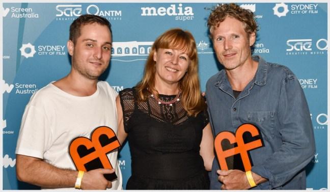 Flickerfest-2015-awards-night-Eddy-Bell(wir-dir-GreyBull),-Bronwyn-Kidd(Flickerfest-director)-&-Sean-Kruck(wri-dir-Snowblind)