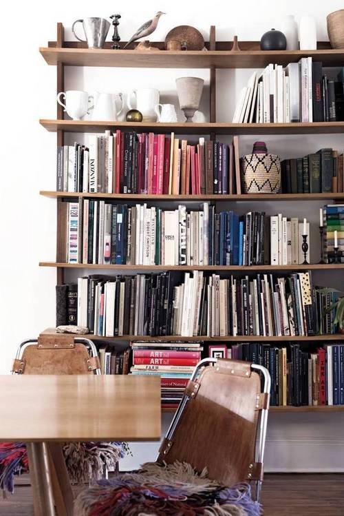 Wall of Bookshelves in Domino Magazine | Gather Goods Co