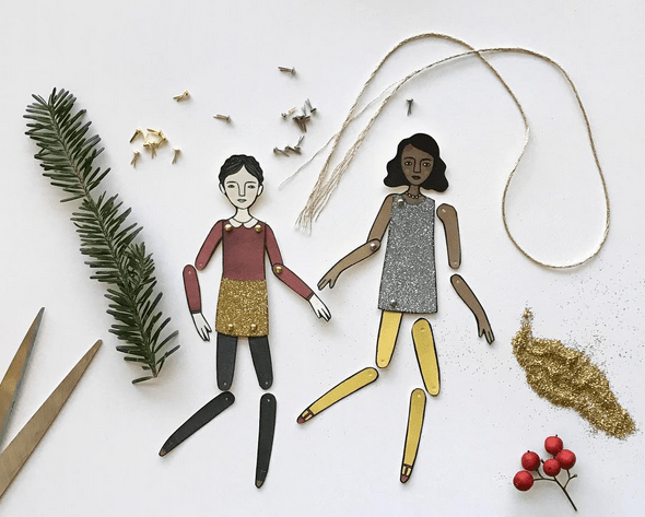 DIY Paper Doll Ornaments