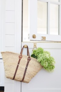 Straw Basket filled with Flowers on Dutch Door, Sarah Bartholomew