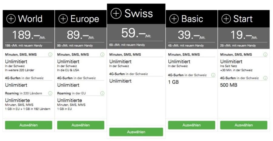 """Die Tarife für """"Normale"""" Kunden. Screenshot Salt. Website"""