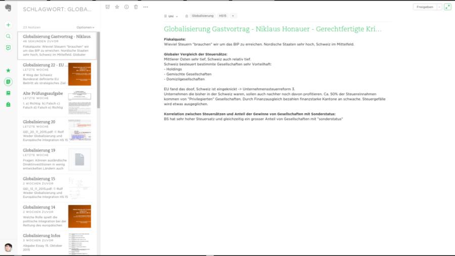 Screenshot von Evernote-Web auf dem Chromebook