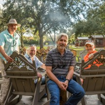 Quail Creek Lodge fire pit with Tom Robison, Tim, Charlie Fusher & Keith Douglas
