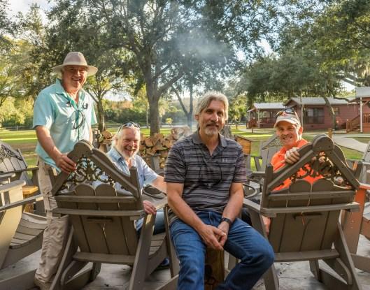 Quail Creek Lodge fire pit with Tom Robison, Tim, Charlie Fusher & Keith Douglas