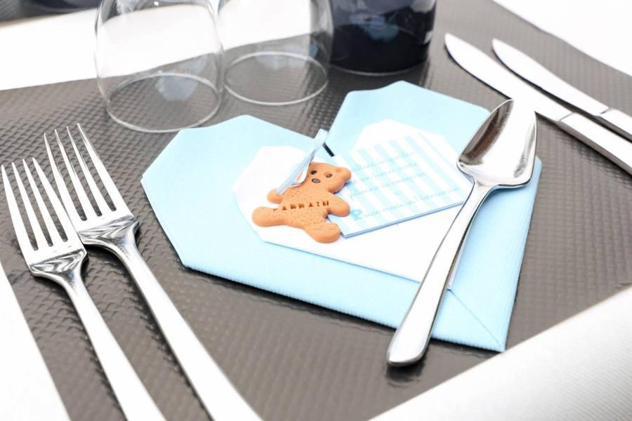 bapteme menu bleu et blanc ourson
