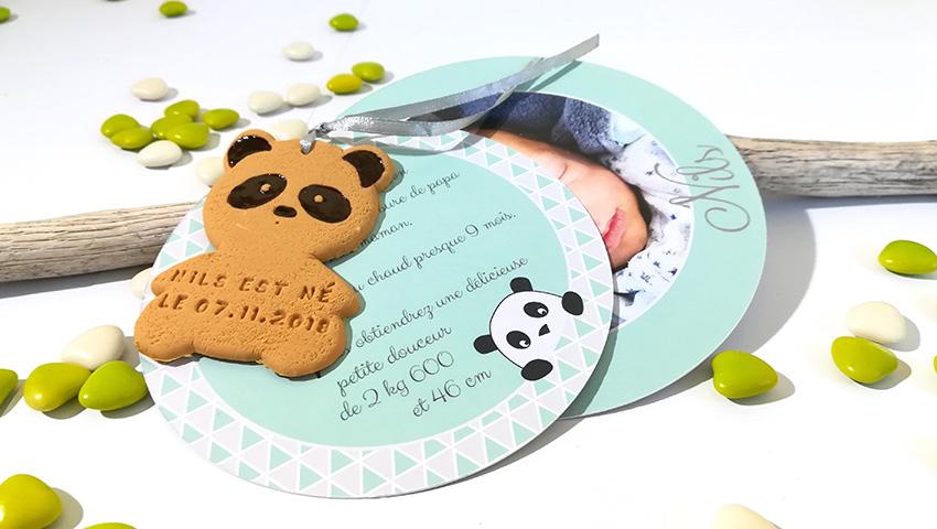 faire-part panda, naissance, bapteme, mixte