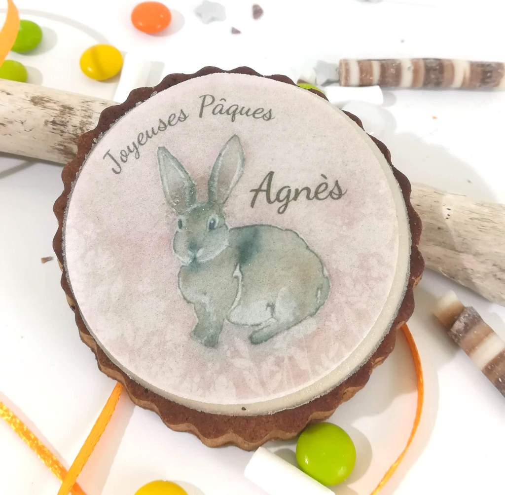 biscuit-personnalise-lapin-rose-paques