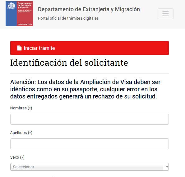 Ampliacion de solicitud de visa
