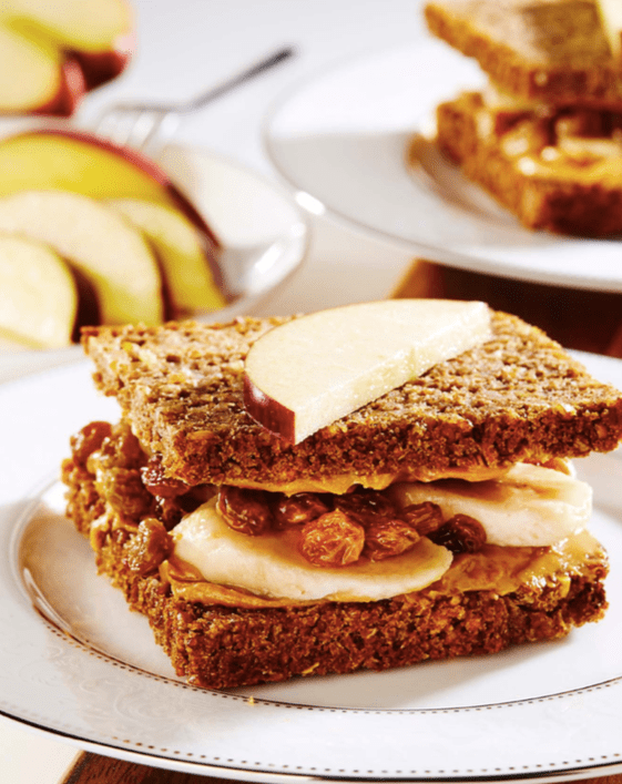 Grilled Nut Butter, Banana and Raisin Sandwich